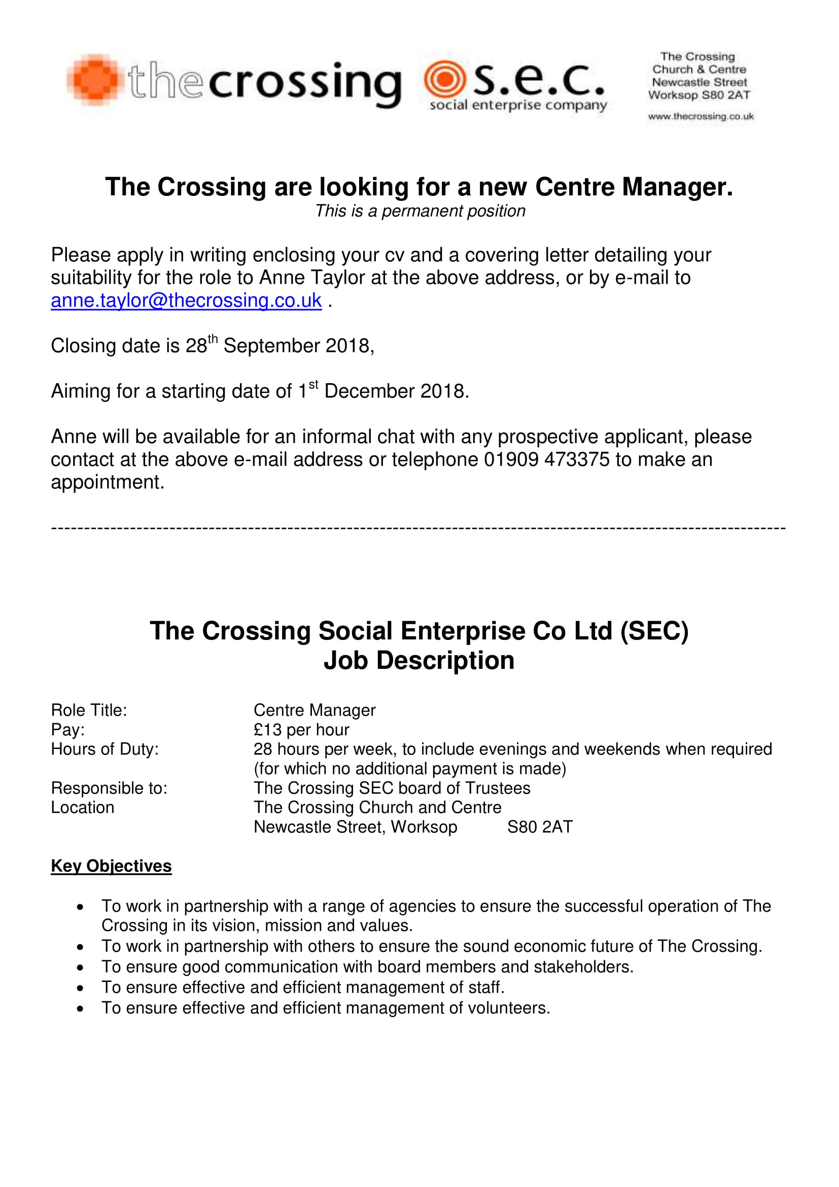 Job Opportunity | Chesterfield & North East Derbyshire