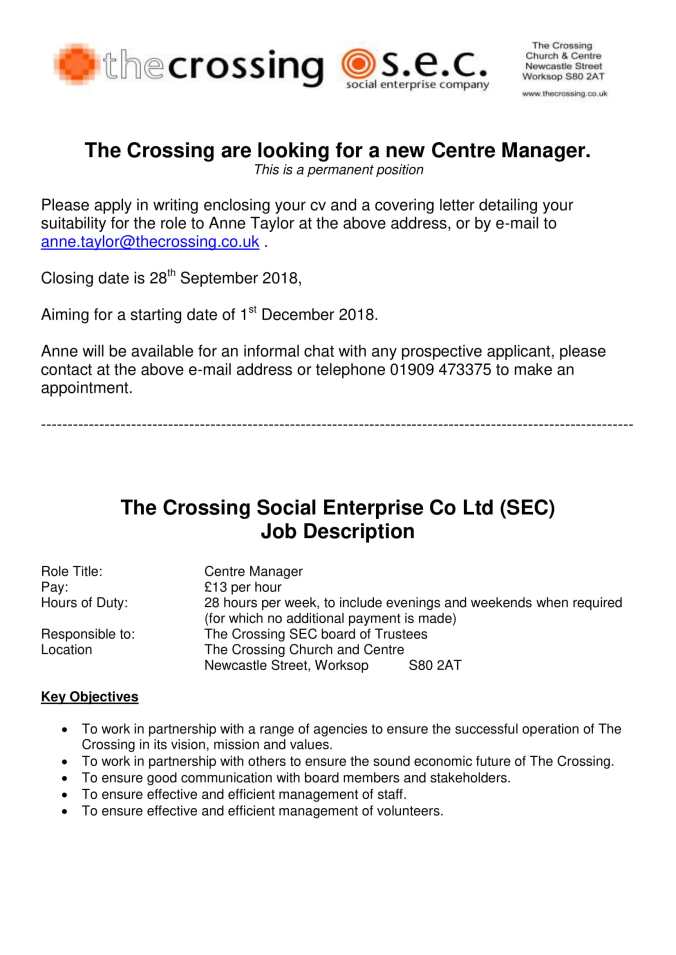 The Crossing SEC - Centre Manager - 2018-1