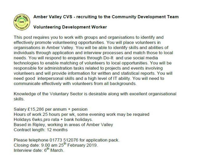 Volunteering Development worker Jan 19_